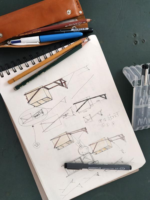 stand vélo Jules B mobilier contemporain sur mesure dessin