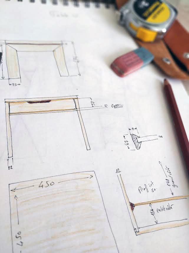 table en U Jules B dessin croquis