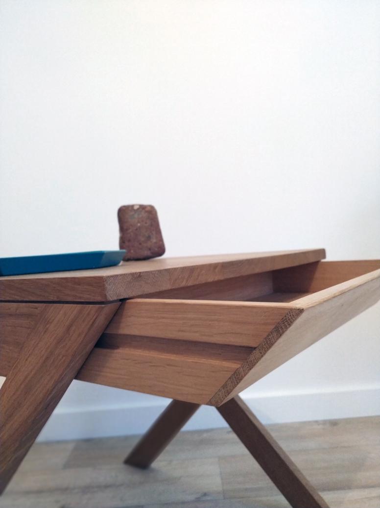 table en X Jules B détail tiroir