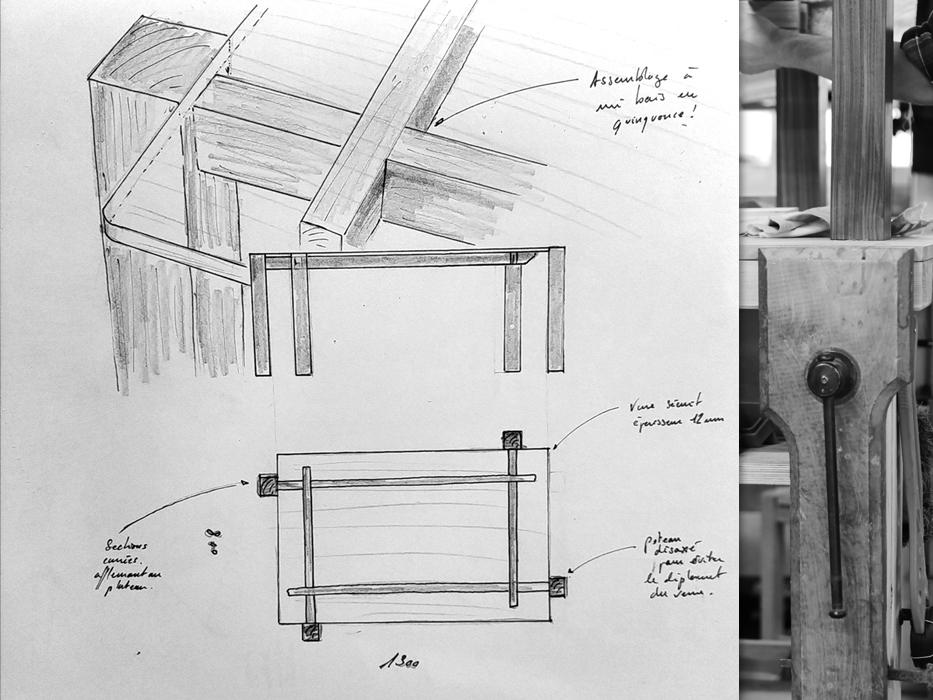 dessin fabrication table basse Jules B
